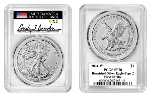 2021-W T2 Burnished Silver Eagle PCGS SP70 First Strike Emily Damstra