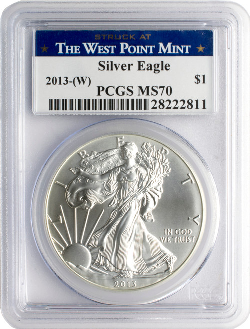 2013 (W) American Silver Eagle PCGS MS70 - West Point Label