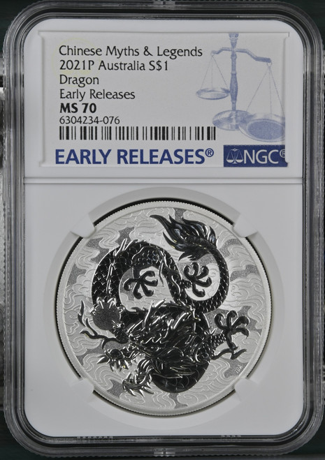 2021-P Australian Silver Dragon NGC MS70 Early Releases