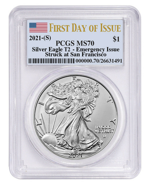 2021 (S) Type 2 Silver Eagle PCGS MS70 First Day of Issue Flag