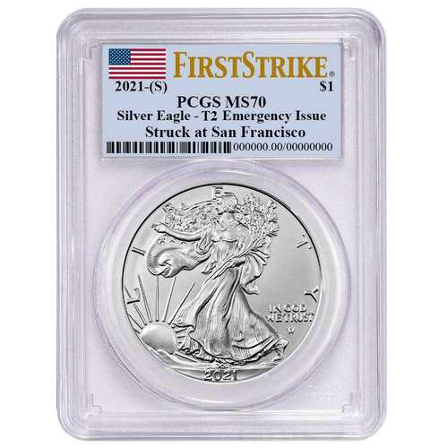 2021 (S) Type 2 Silver Eagle PCGS MS70 First Strike Flag