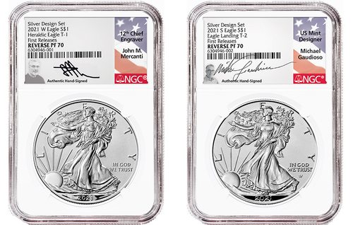 American Eagle 2021 One Ounce Silver Reverse Proof Two-Coin Set Designer Edition signed