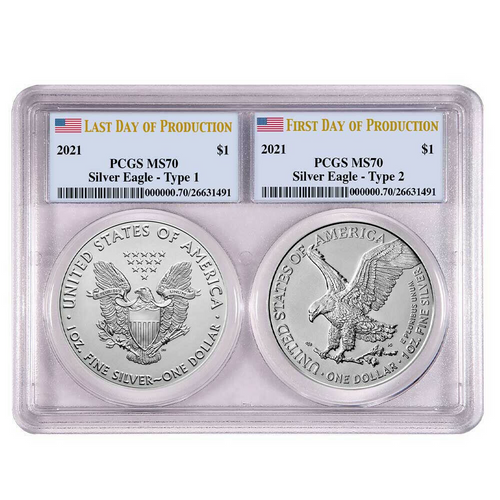2021 T1 and T2 Silver Eagle Set PCGS MS70 First and Last Day of Production