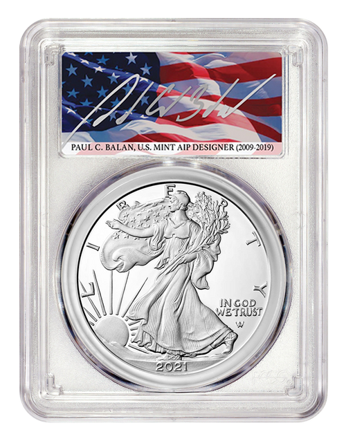 2021-S Proof Silver Eagle PCGS PR70 DCAM First Day of Issue - Paul C. Balan Signed