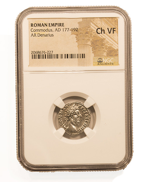 Roman Silver Denarius of Commodus (AD 177-192) NGC (VF)
