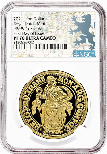 2021 Netherlands Gold 1 Lion Dollar NGC PF70 First Day of Issue