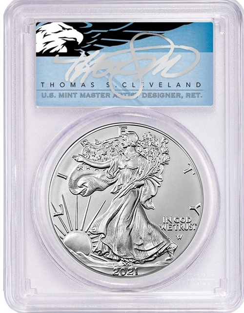 2021 (S) Type 2 Silver Eagle PCGS MS70 First Day of Issue Emergency Issue Thomas Cleveland Signed