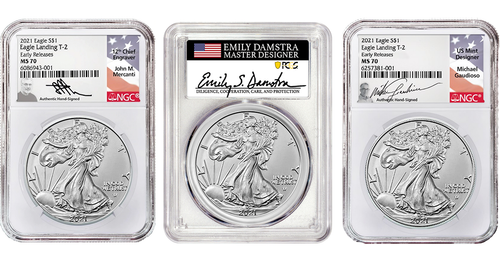 2021 T2 Silver Eagle NGC/PCGS MS70 ER/FS - The Ultimate 3pc Signature Collection