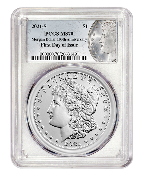 2021-S Morgan Silver Dollar PCGS MS70 First Day of Issue