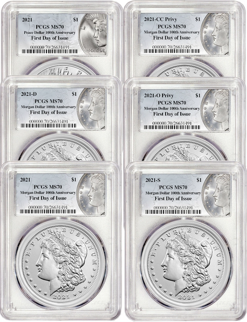 2021 Morgan and Peace Dollar PCGS MS70 First Day of Issue 100th Anniversary 6-pc Complete Set