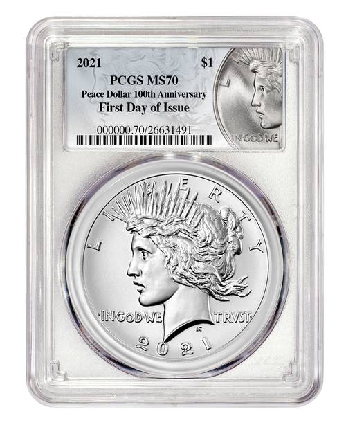 2021 Peace Dollar PCGS MS70 First Day of Issue