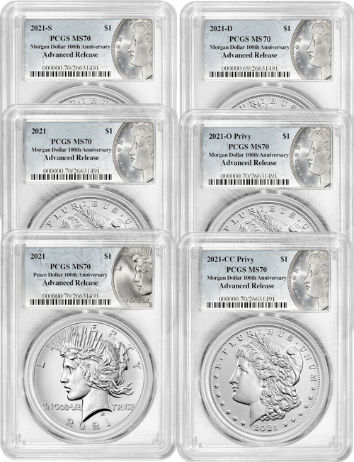2021 Morgan and Peace Dollar PCGS MS70 Advanced Release 100th Anniversary 6-pc Complete Set