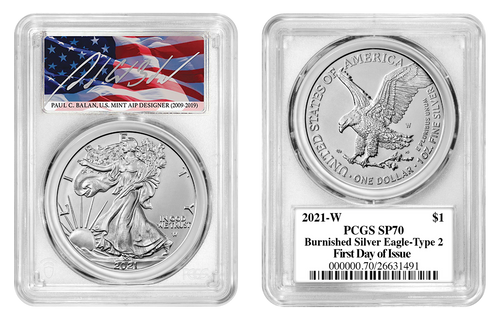 2021-W Type-2 Burnished Silver Eagle PCGS SP70 First Day of Issue Paul Balan
