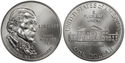 1993-D Madison Bill of Rights Dollar GEM Uncirculated