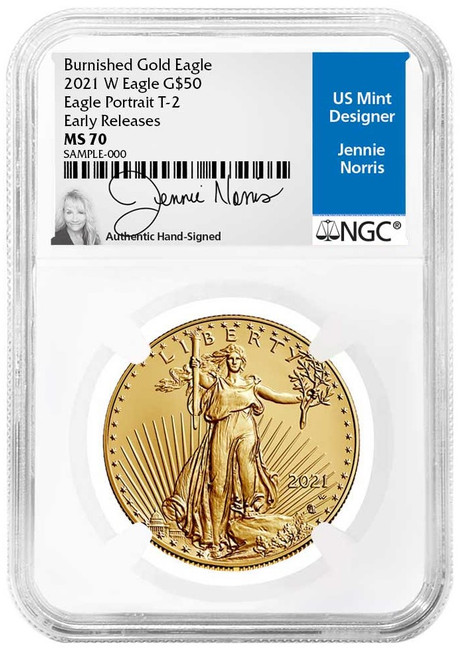2021-W Burnished Gold Eagle NGC MS70 Early Releases Jennie Norris Signed
