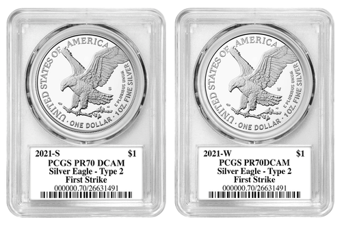 2021 W/S Type 2 Silver Eagle PCGS PR70 First Strike Damstra - 2 Coin Set reverses