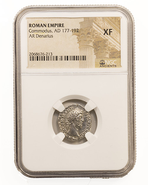 Roman Silver Denarius of Commodus (AD 177-192) NGC (XF)