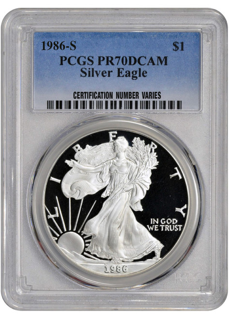 1986-S Proof Silver Eagle PCGS PR70 DCAM