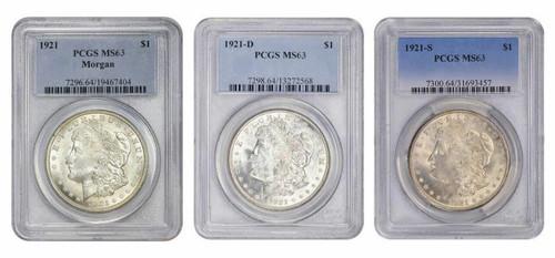1921-PDS Morgan Silver Dollar PCGS MS63 3pc Set