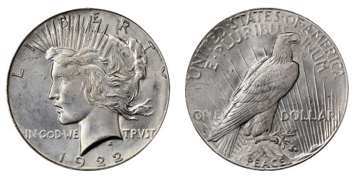 1922-S Peace Dollar Brilliant Uncirculated - BU
