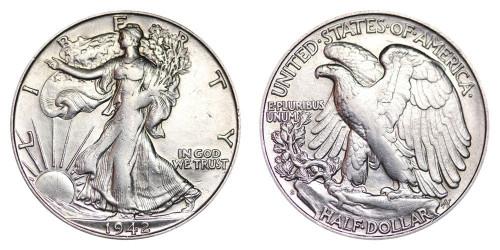 1942-S Walking Liberty Half Dollar Brilliant Uncirculated - BU