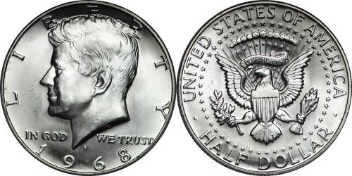 1968 Kennedy Half Dollar Roll Brilliant Uncirculated - BU (20 Coins)