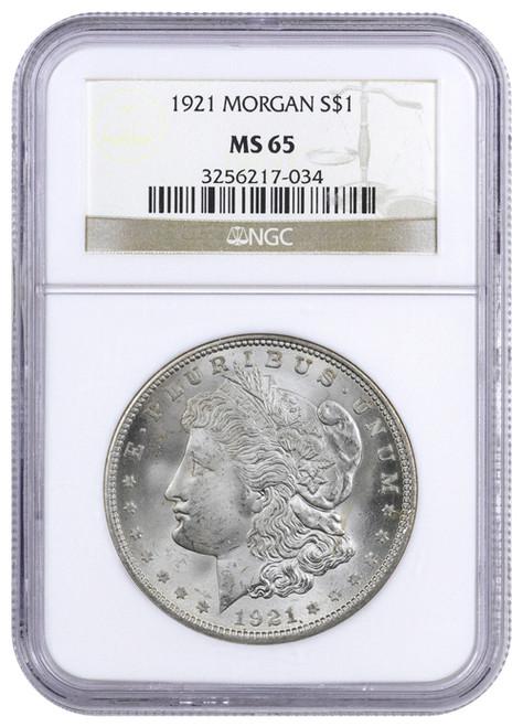 1921-P Morgan Silver Dollar NGC MS65