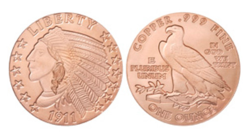 1 oz Copper Round - Incuse Indian Design