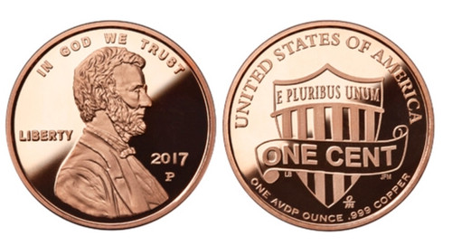 1 oz Copper Round - Lincoln Cent Design
