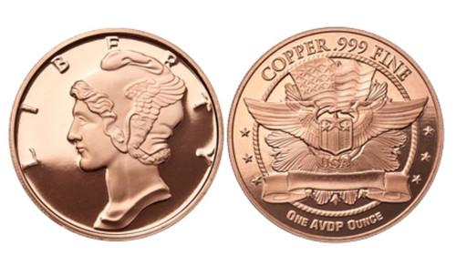 1 oz Copper Round - Mercury Dime Design