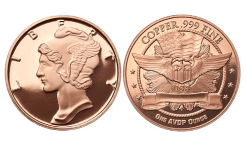 1 oz Copper Round - Mercury Dime Design