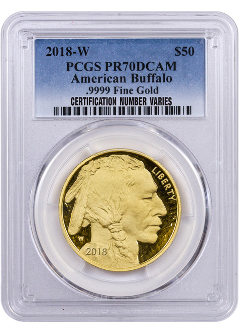 2018 $50 Proof Gold Buffalo PCGS PR70 DCAM