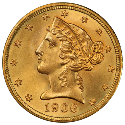 $5 Gold Liberty Brilliant Uncirculated - BU - Random Date  obverse