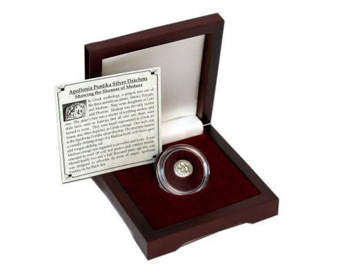 Ancient Greece: Apollonia, Silver Drachm with Medusa Portrait Box