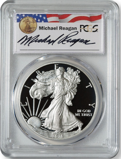 2016-W (2019) Proof Silver Eagle PCGS PR70 DCAM Lettered Edge Michael Reagan Signed (West Point Mint Hoard) obv