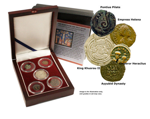 Search for the True Cross: Box of 5 Ancient Coins