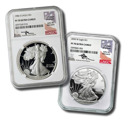 1986 & 2020 Silver Eagle NGC PF70 2-Coin Set John Mercanti Signed with Mahogany Box