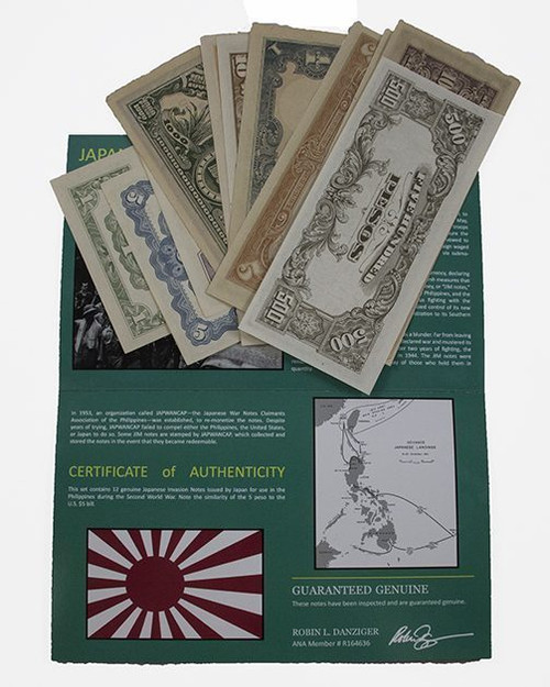 Japanese Invasion Money of the Philippines: A Set of 12 Banknotes (AU-UNC)