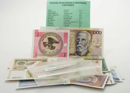 25 Banknotes from 25 Different Countries