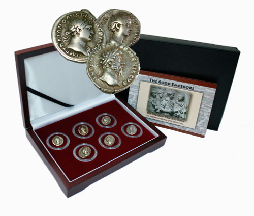 The Good Emperors of Ancient Rome: Box of 6 Silver Roman Coins