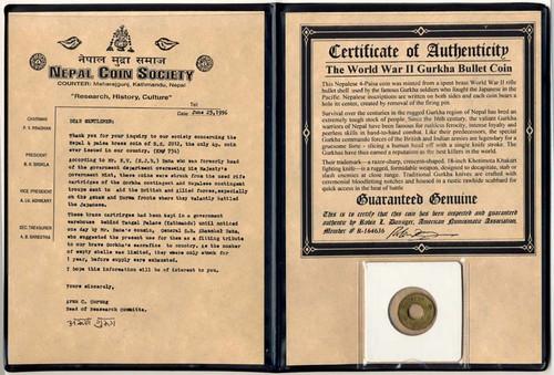 World War II Nepal Gurkha Bullet Coin Album