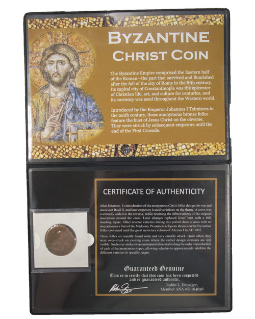 Byzantine Christ Coin: Anonymous Folles with Jesus' Portrait