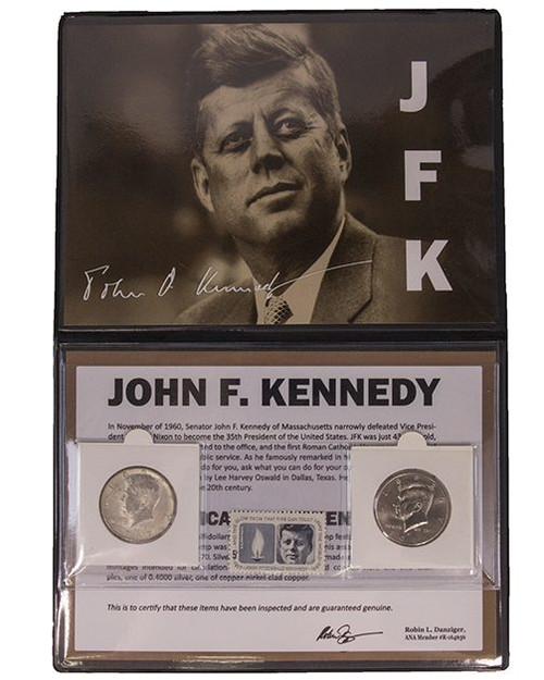 1964 Kennedy Half Dollar Album - 2 Coins and a Stamp