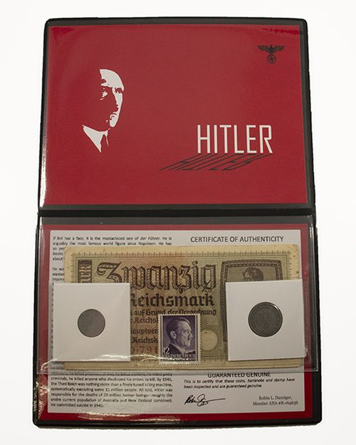 Adolf Hitler Album: Banknote, Stamp & Two Coins