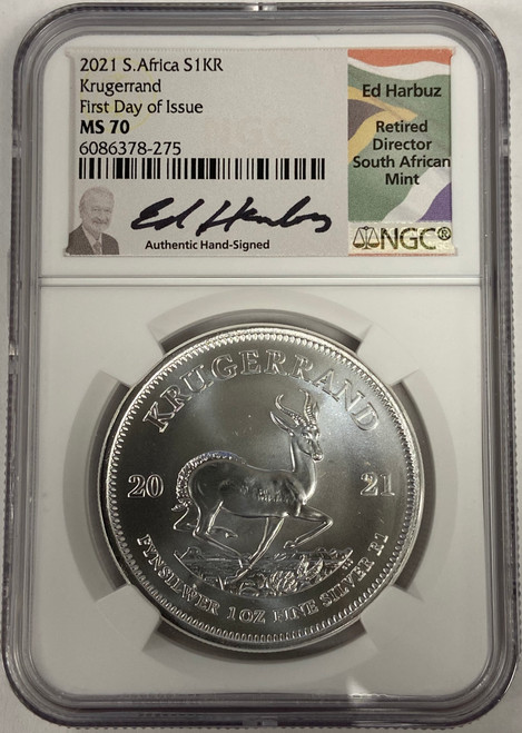 2021 South Africa 1 oz Silver Krugerrand NGC MS70 - First Day of Issue Ed Harbuz Signed