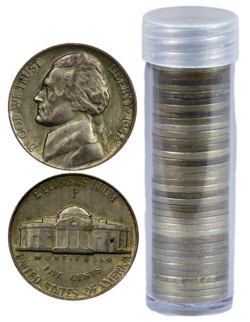 1942-1945 War Nickel Roll - Only 35% Silver Nickel (40 Coins)