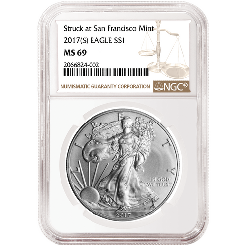 2017 (S) Silver Eagle NGC MS69 - San Francisco Struck