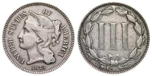 1865-1889 Three Cent Nickel - Circulated