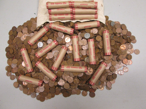 1909-1956 Wheat Penny Circulated (Roll of 50) - Upstate NY Hoard pile