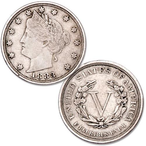 """1883 """"No Cents"""" V Nickel"""